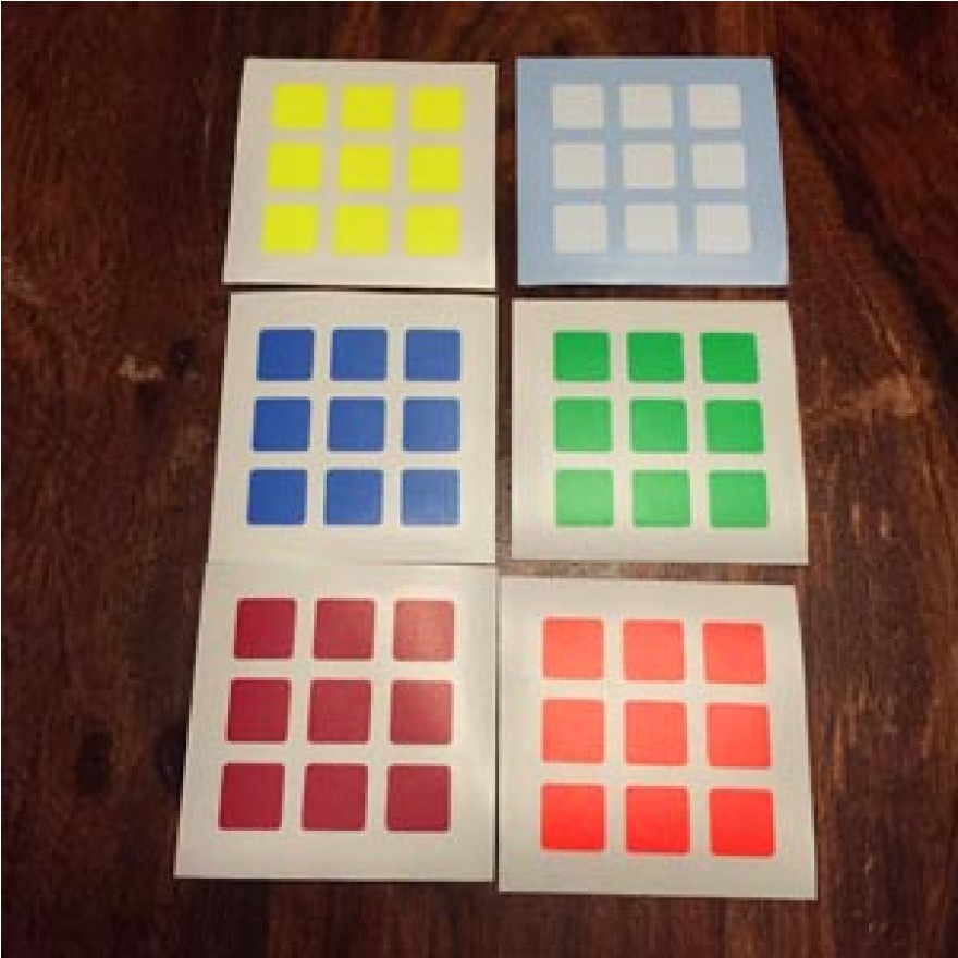 Replacement Sticker for Easy Cube - Set of 6 colors (neon stage standard)